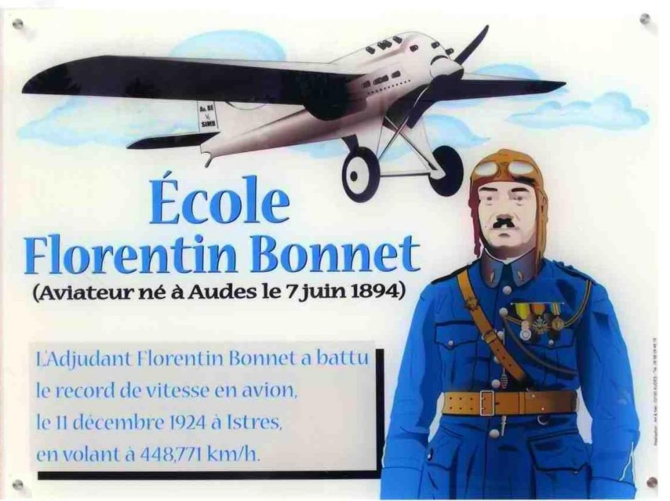 Plaque Adjudant-chef pilote Florentin BONNET Audes Allier (03)