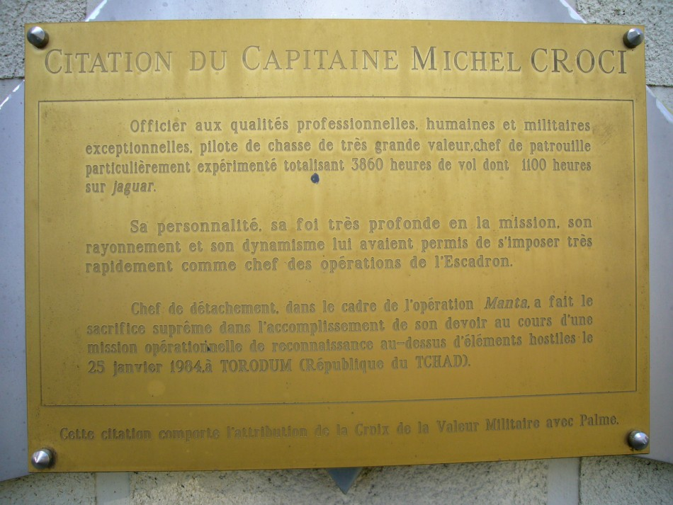 Memorial Capitaine Michel Croci M閞ignac Gironde (33), Bordeaux M閞ignac + BA 106 airfield