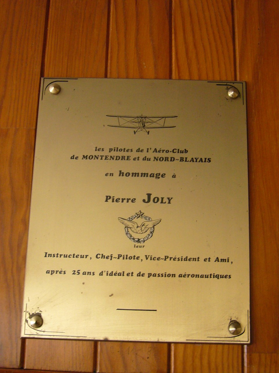 Plaque Pierre Joly Marcillac Gironde (33)