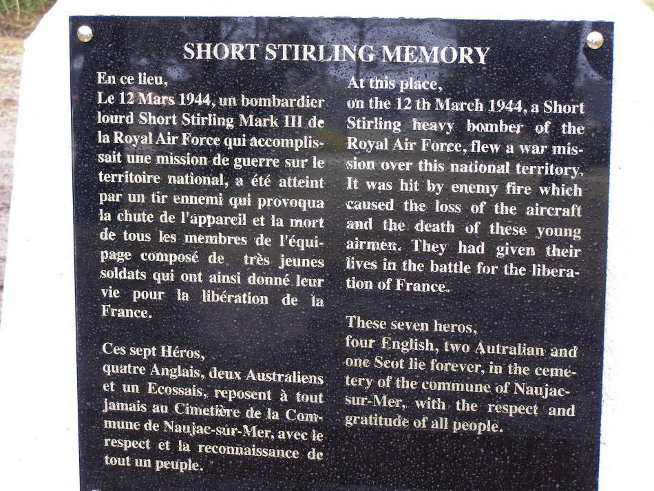 Memorial Stirling LJ480 Naujac-sur-Mer Gironde (33)