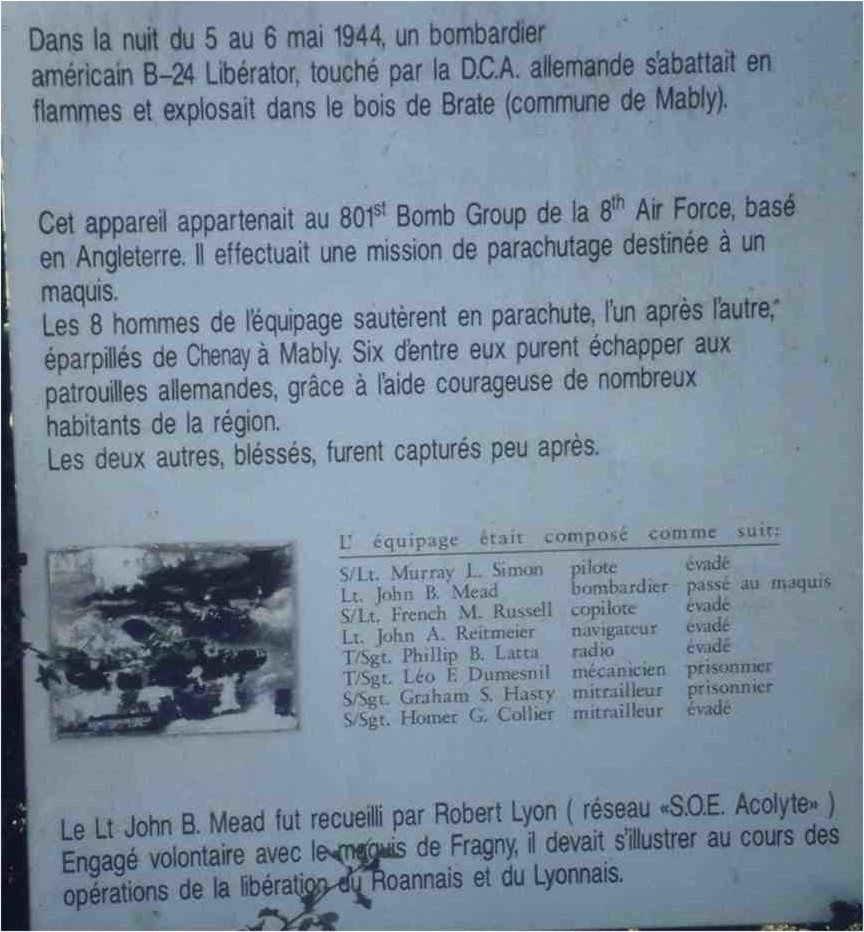 Sign B-24 Liberator 42-63798 Mably Loire (42)