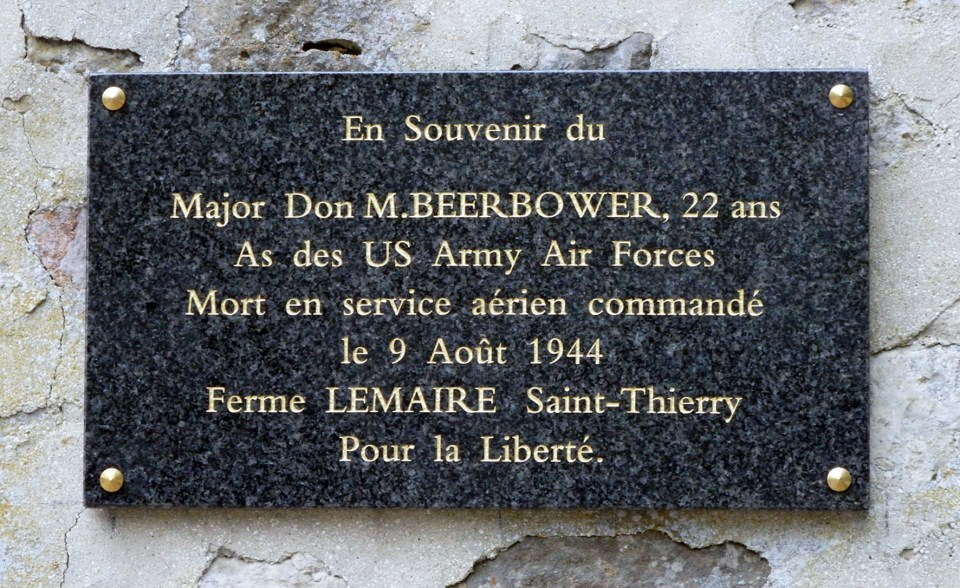 Plaque Major Donald « Don » M. Beerbower Saint-Thierry Marne (51)