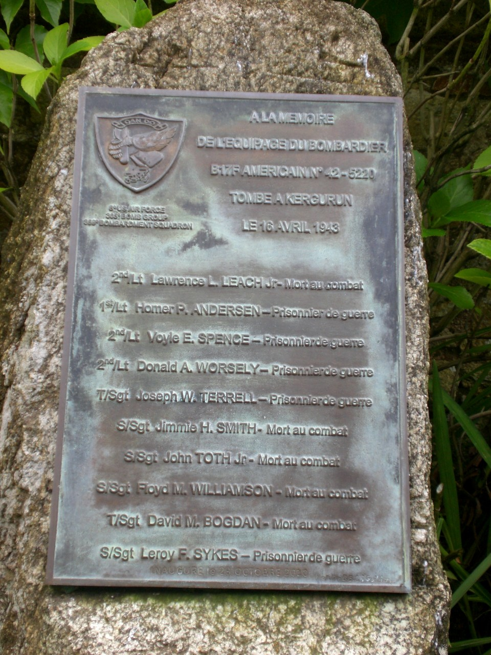 Memorial B-17 42-5220 Languidic Morbihan (56)