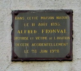 Plaque Alfred Fronval Neuville-Saint-R閙y Nord (59)