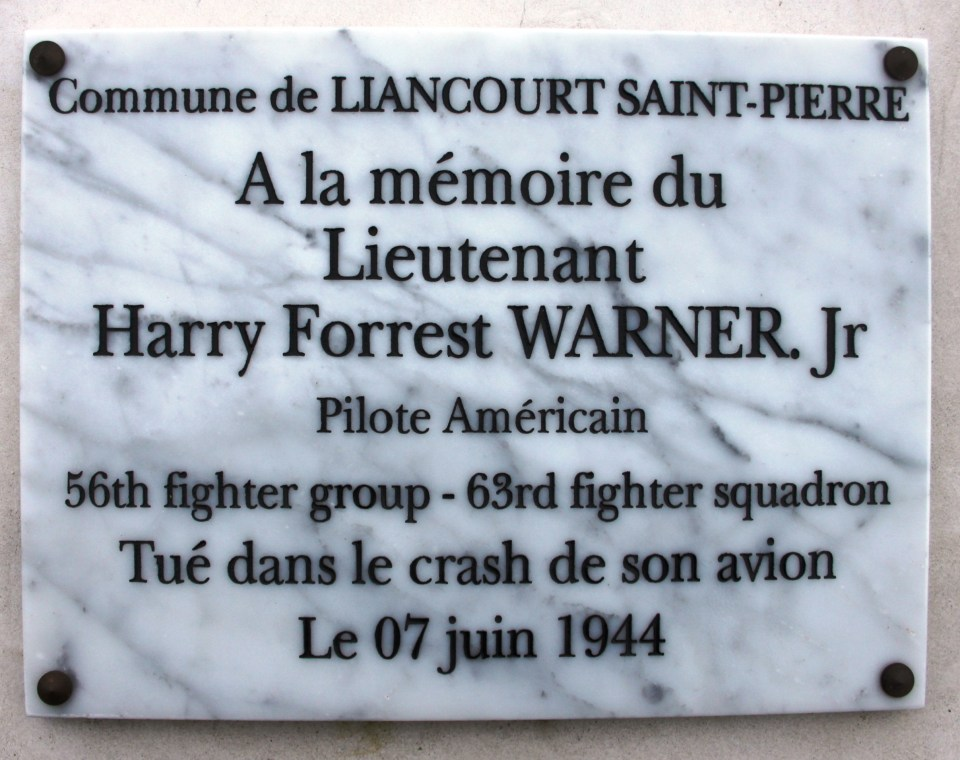 St鑜e Lt. Harry Forrest Warner Jr Liancourt-Saint-Pierre Oise (60)