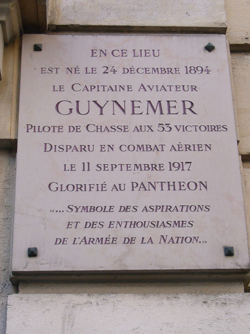 Plaque Maison natale Georges Guynemer Paris 16ème Paris (75)