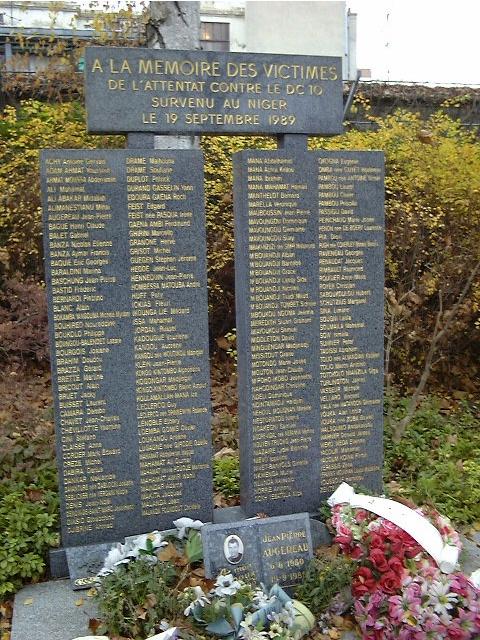Attentat du dc 10 d 39 uta paris 20 me cim p re lachaise aerosteles - Jardin du souvenir pere lachaise ...