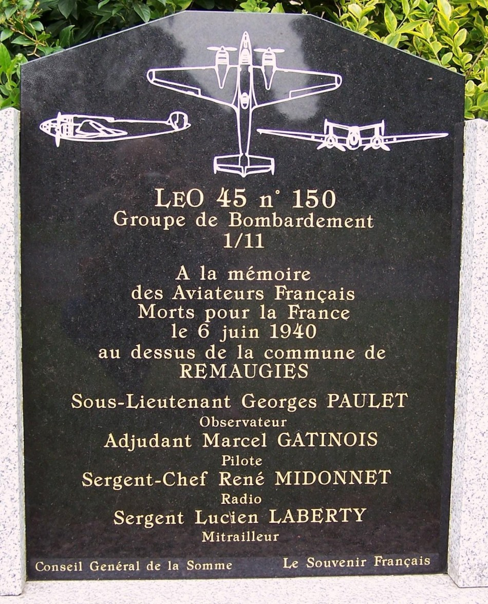 Memorial LEO 45 n° 150 Remaugies Somme (80)