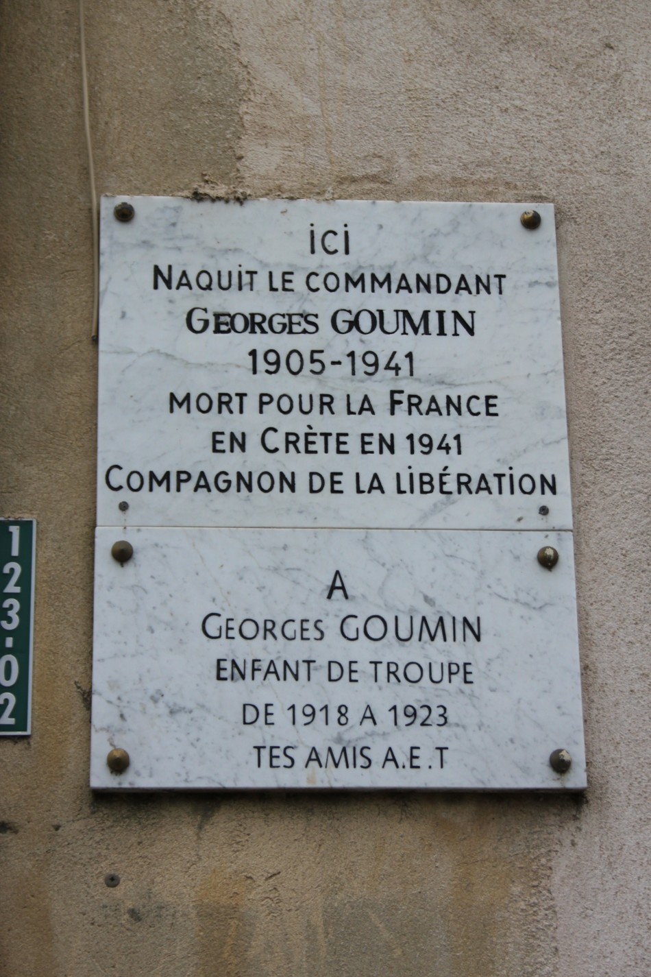 Plaque Maison natale Commandant Georges Goumin Orange Vaucluse (84)