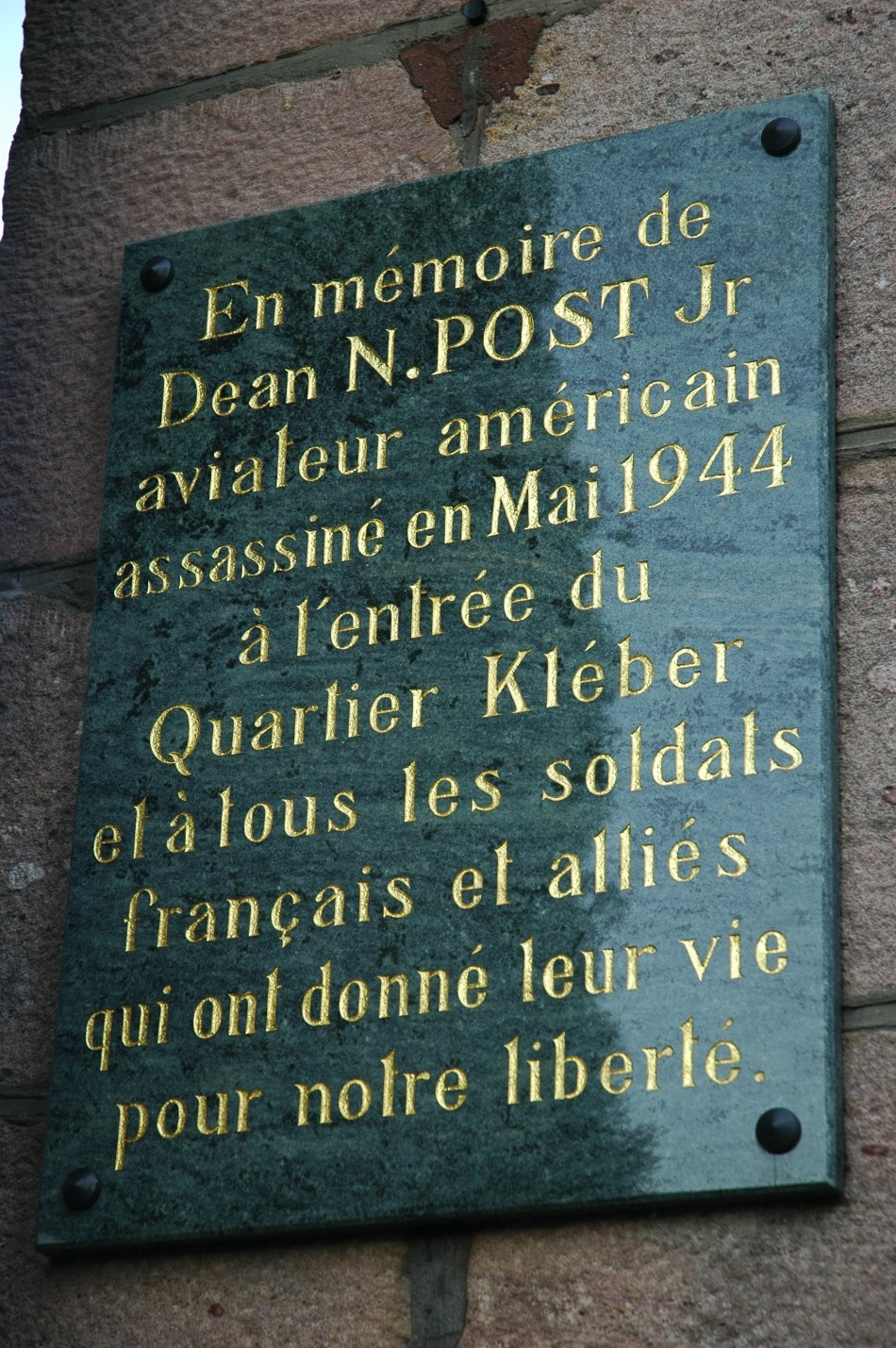 Plaque 1st Ltt POST Dean N. Jr G閞ardmer Vosges (88)