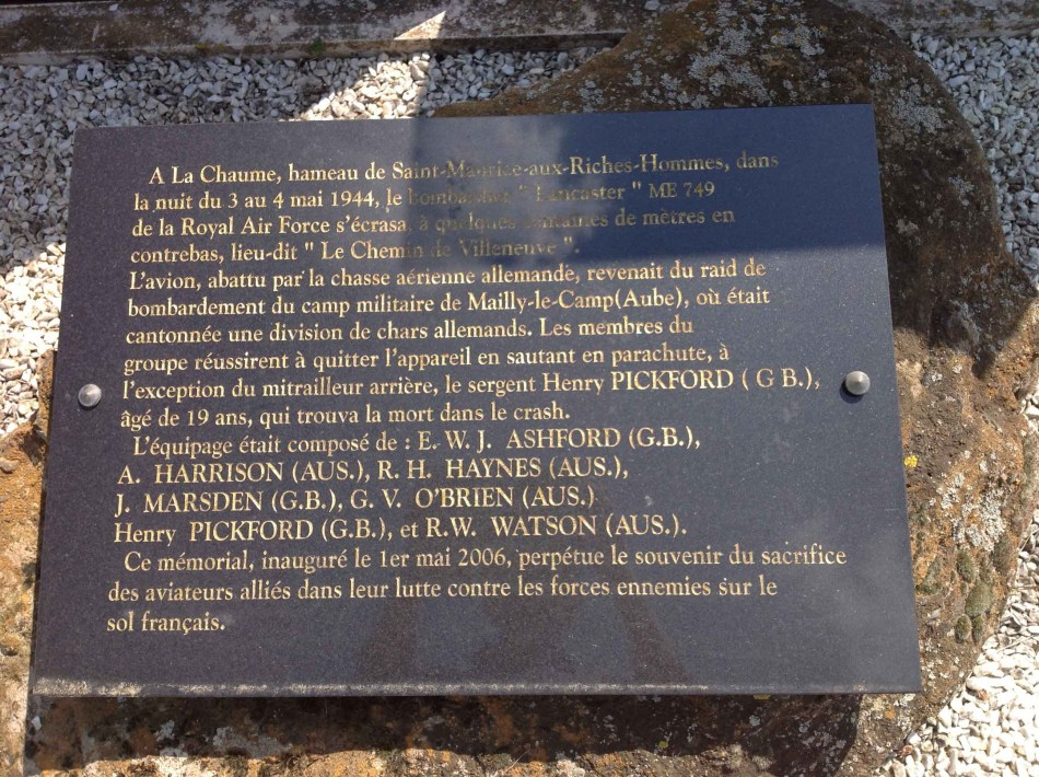 Memorial Henry Pickford Saint-Maurice-aux-Riches-Hommes Yonne (89)