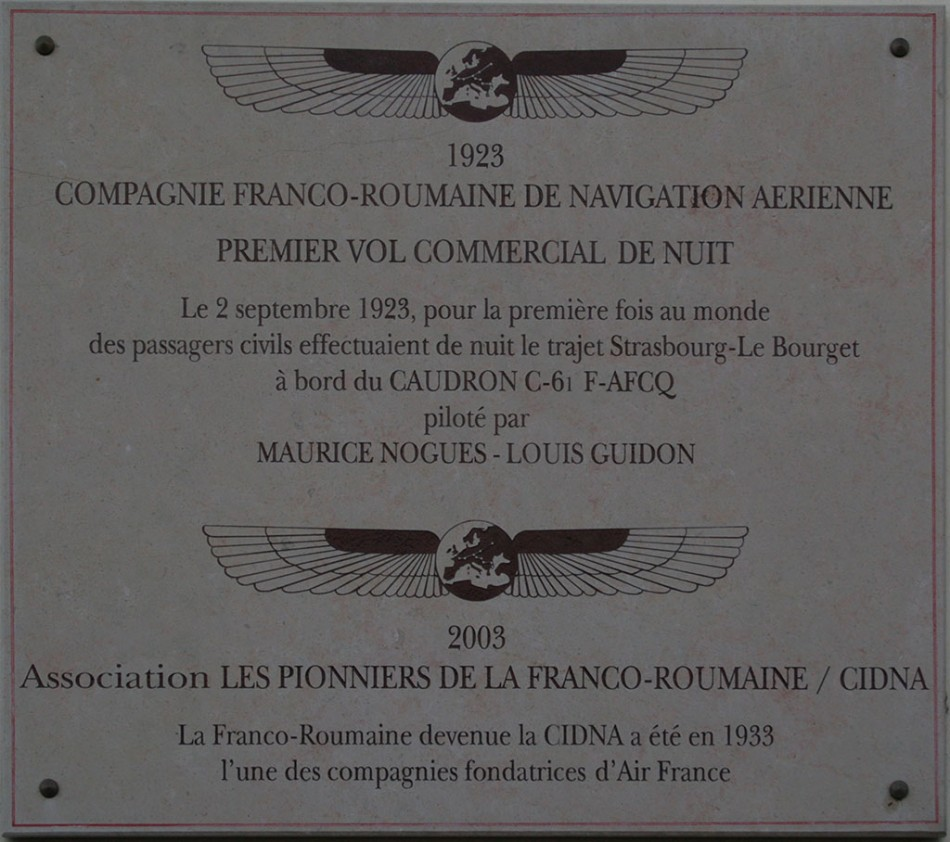 Plate Franco-Roumaine - Premier vol commercial de nuit Dugny Seine-Saint-Denis (93), Paris le Bourget airfield