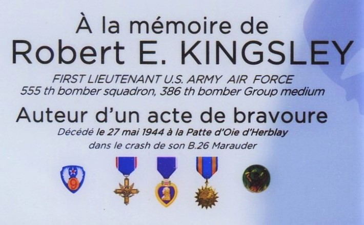 Plaque Lieutenant Robert E. Kingsley (ancienne) Herblay Val-d'Oise (95)