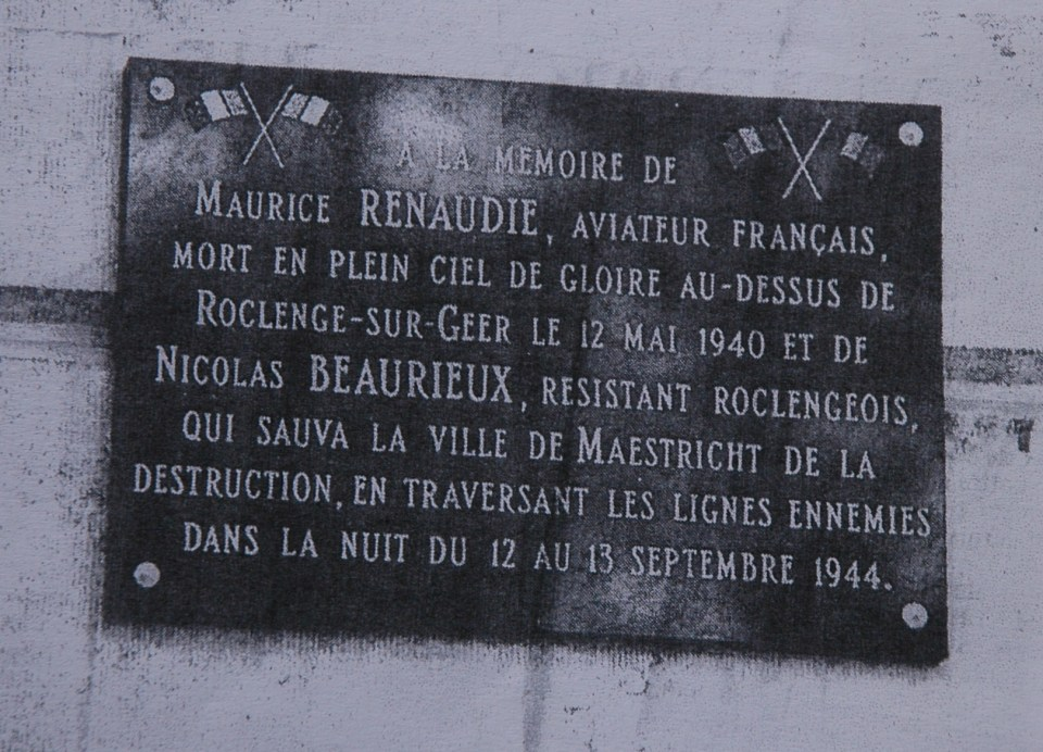 Plaque Adc Marcel RENAUDIE - Point de chute du MS 406 n�6 - 4 Bassenge